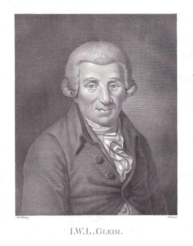 Ca 1820 Johann Wilhelm Ludwig Gleim Dichter Halberstadt Portrait Zschoch Ramberg