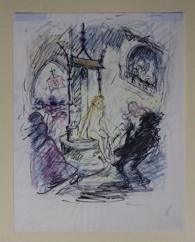 1912 Arpad Schmidhammer Zeichnung drawing Frau Brunnen Akt Mädchen