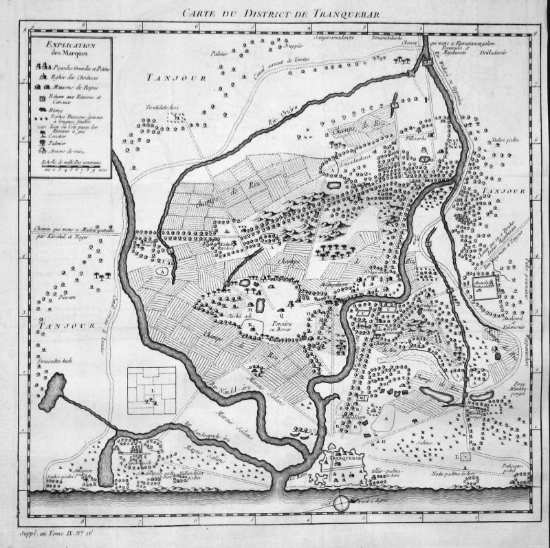 Tharangambadi Indien India Asien Asia Karte map Kupferstich antique print Bellin