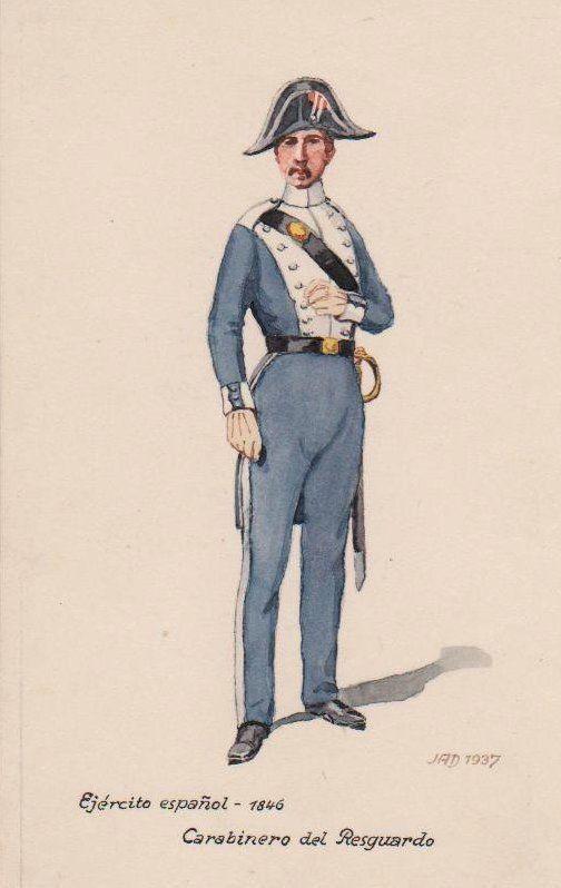 1937 - Carabinero Polizist Spanien Militaria Uniform Uniformen Original Aquarell 0