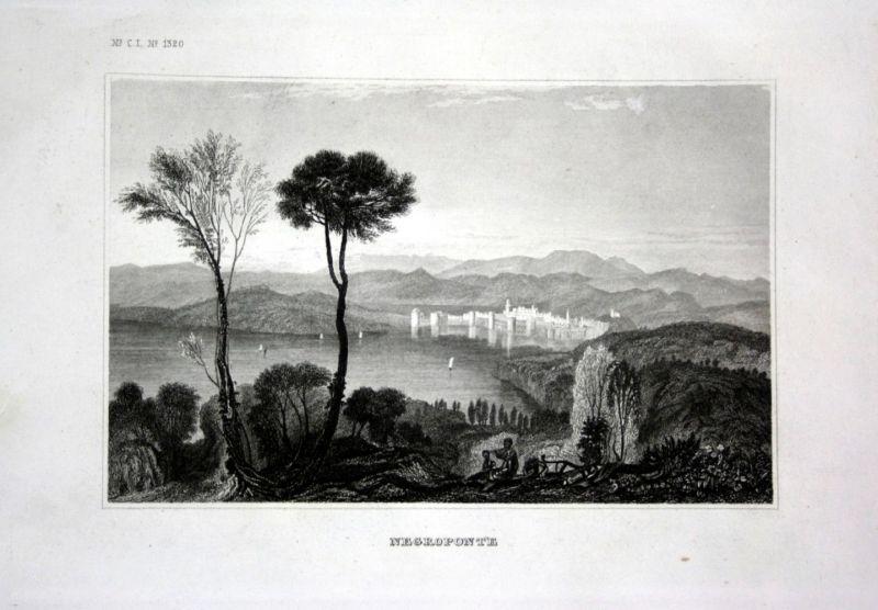 Ca. 1840 Euböa Euboea Griechenland Greece Ansicht view Stahlstich engraving 0
