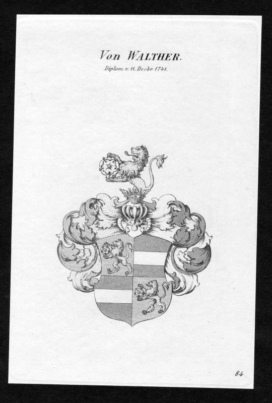 Ca. 1820 Walther Wappen Adel coat of arms Kupferstich antique print heraldry 0