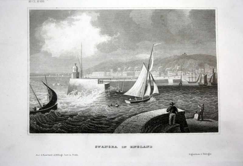 Ca. 1840 Swansea Wales Ansicht view Stahlstich engraving