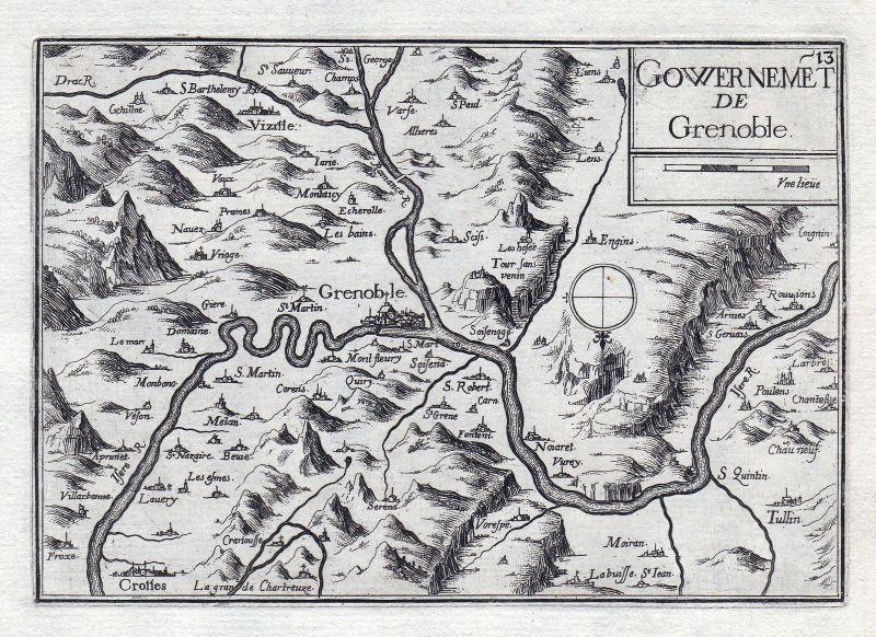 Grenoble Auvergne-Rhône-Alpes Isere France gravure estampe Kupferstich Ta 146329