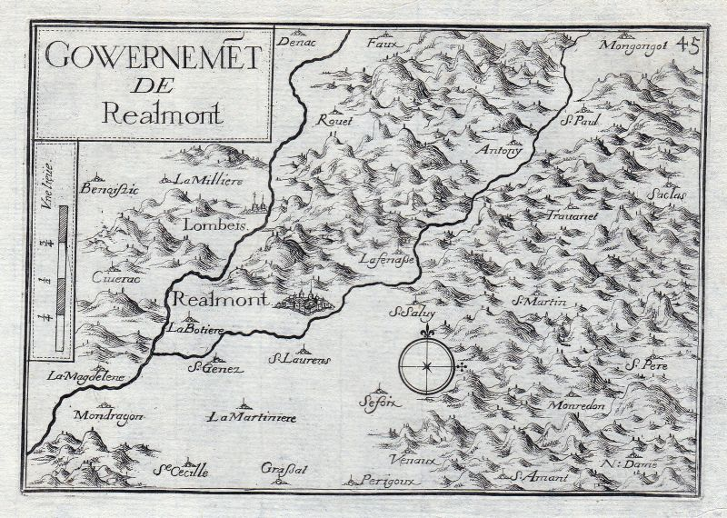 1630 Realmont Midi-Pyrenees Tarn Albi France gravure estampe Kupferstich Tassin