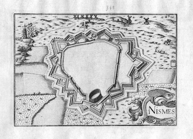 Ca. 1630 Nismes Namur Belgique Kupferstich Karte map engraving gravure Tassin