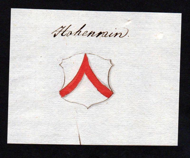 18. Jh. Hohenrain Wappen Handschrift Manuskript manuscript coat of arms