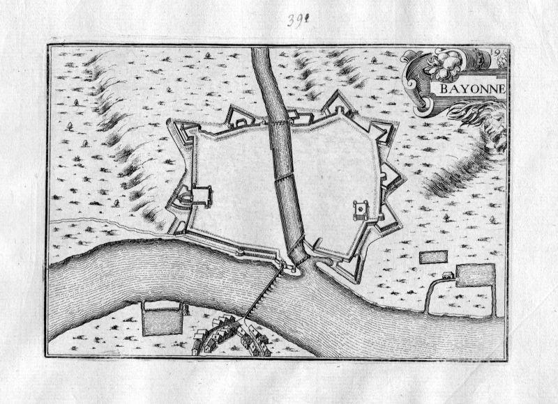 Ca 1630 Bayonne France Frankreich Kupferstich Karte map engraving gravure Tassin