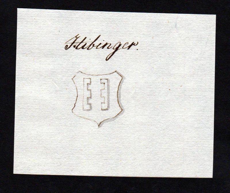 18. Jh. Hibinger Hibing Handschrift Manuskript Wappen manuscript coat of arms 0
