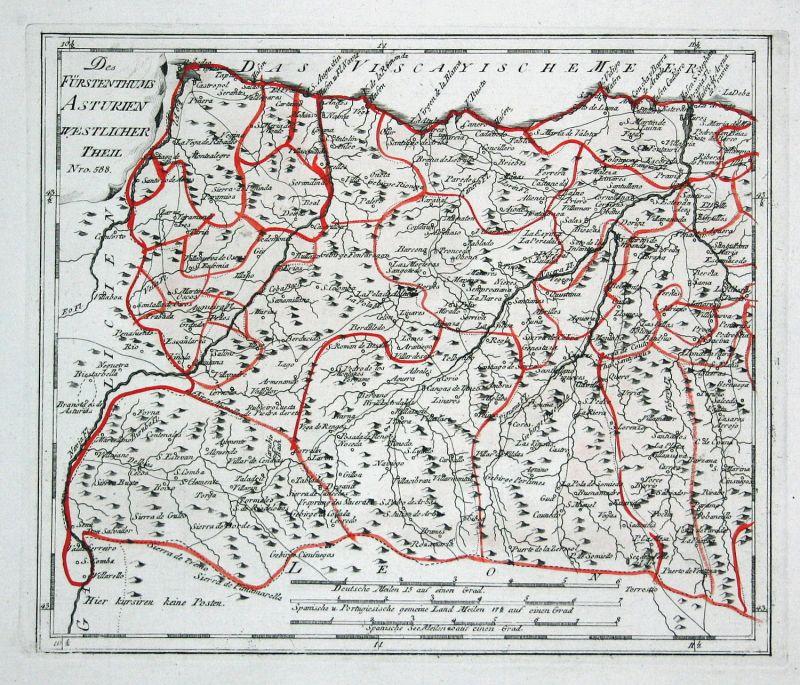 Spanien Spain Portugal Asturien Asturias Boal map Reilly engraving Kupferstich 0