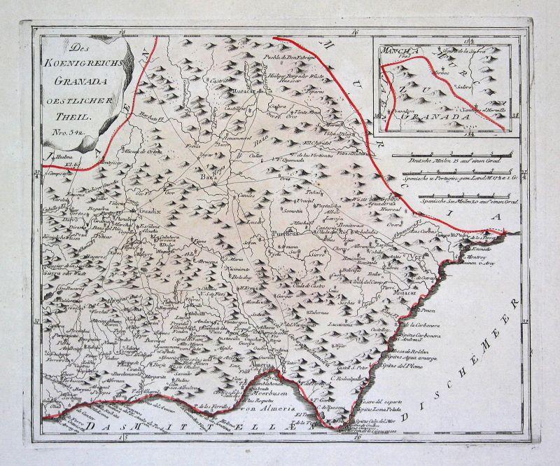 Spanien Spain Portugal Granada Guadix map Karte Reilly engraving Kupferstich