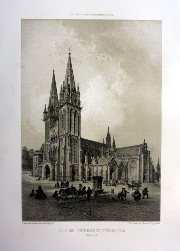 Ca 1870 Chathedrale Saint-Pol-de-Leon Bretagne France estampe Lithographie litho