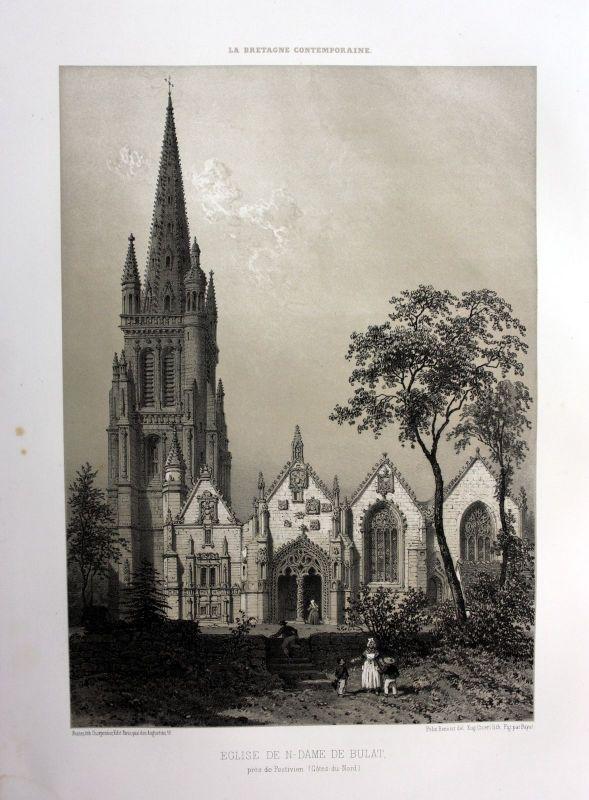 Ca. 1870 Eglise Bulat-Pestivien Bretagne France estampe Lithographie lithograph