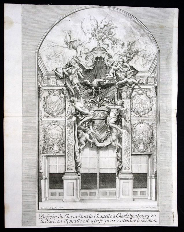 Ca. 1705 Schloss Charlottenburg Berlin Kapelle Göthe Kupferstich antique print