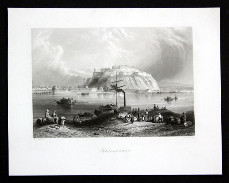 Ca. 1850 Petrovaradin Festung Fortress Serbia Ansicht Stahlstich antique print