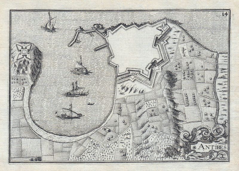 1630 Antibes Alpes-Maritimes Grasse France gravure estampe Kupferstich Tassin