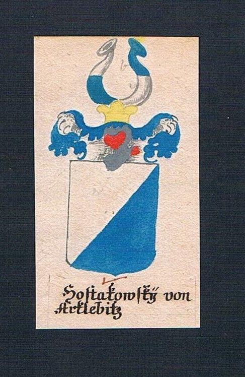 18. Jh. Hostakowsky von Arklebitz Böhmen Manuskript Wappen Adel coat of arms 0