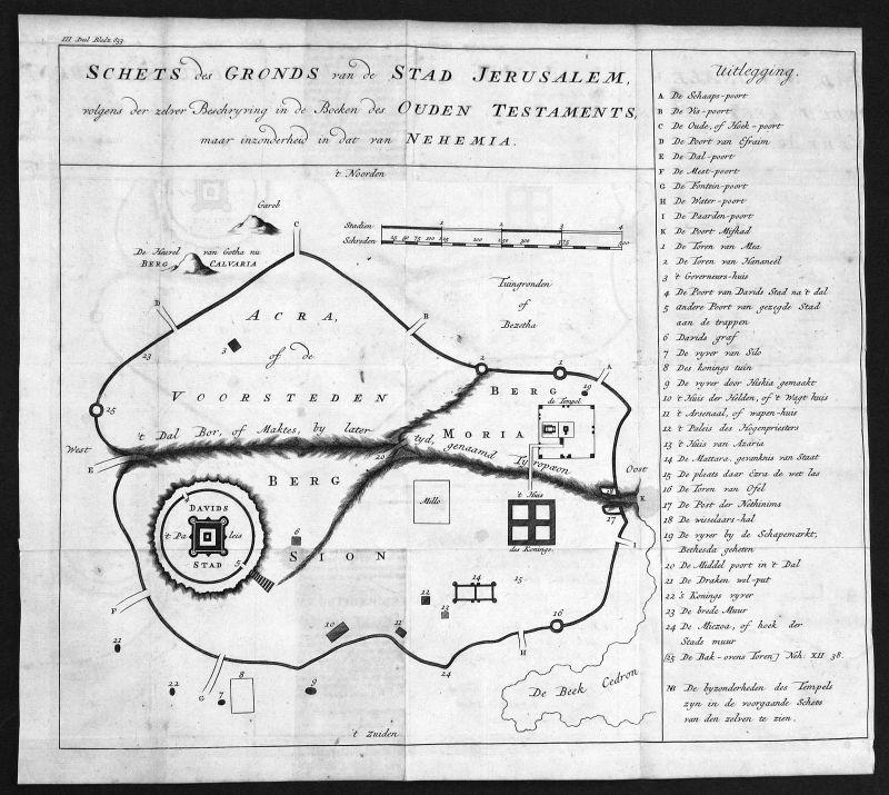18. Jh. Jerusalem Israel Holy Land Plan Karte map Kupferstich antique print