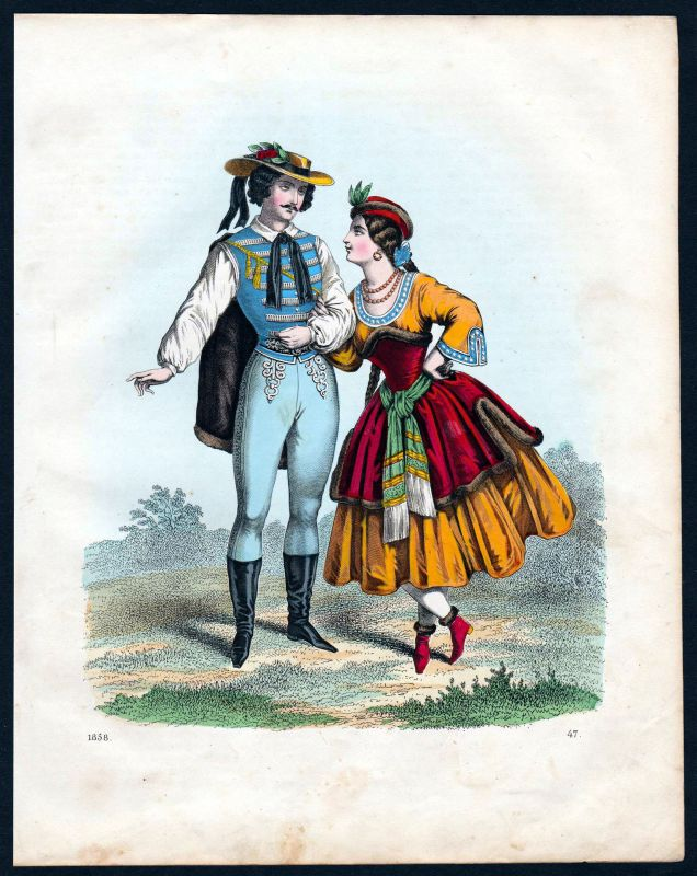 1858 Ungarn Hungary Tracht Trachten costume costumes Lithographie lithograph 0