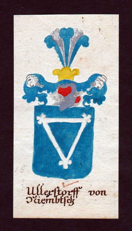 18. Jh. Ullersdorf auf Niemtsch Lausitz Manuskript Wappen Adel coat of arms 0