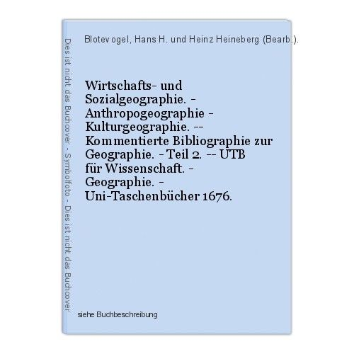 Wirtschafts- und Sozialgeographie. - Anthropogeographie - Kulturgeographie. -- K