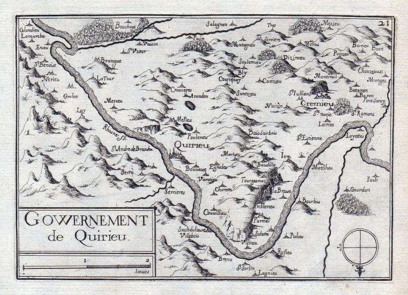 1630 Auvergne-Rhone-Alpes Isere France gravure estampe Kupferstich Tassin
