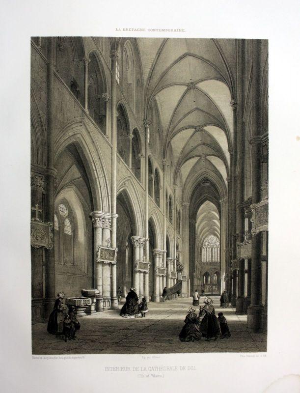 Ca. 1870 Cathedrale Saint-Samson de Dol-de-Bretagne France estampe Lithographie