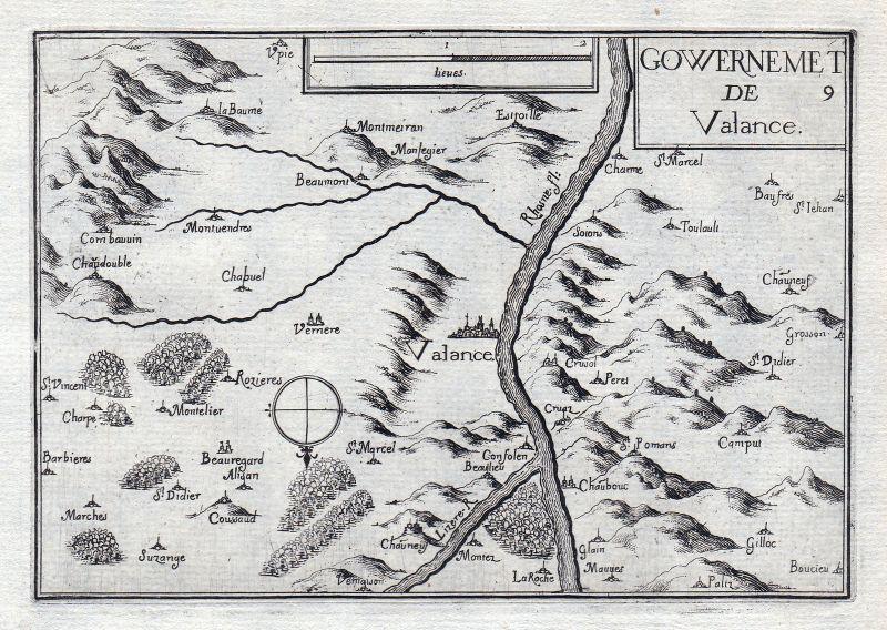 1630 Valence Drome Rhone France gravure estampe Kupferstich Tassin 146325 0