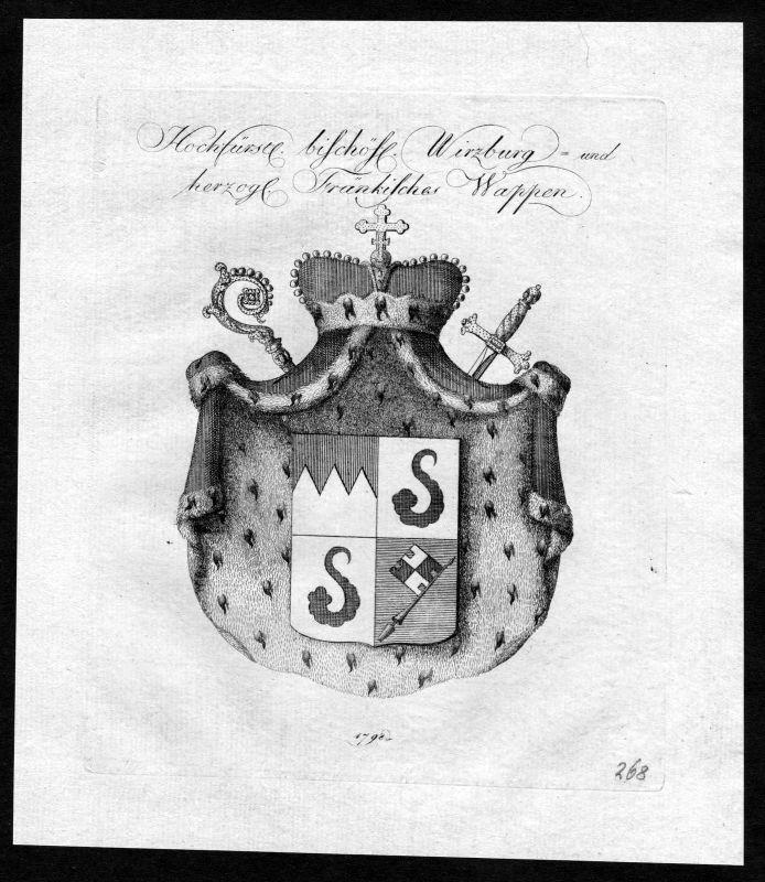 1790 - Würzburg Wuerzburg Franken Franconia Wappen Adel coat of arms Heraldik 0