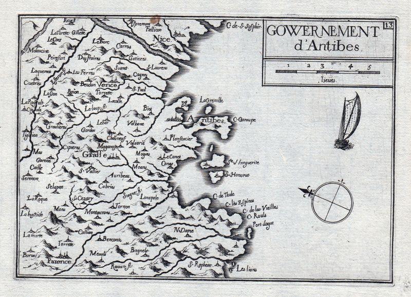 1630 Antibes Alpes-Maritimes Grasse France gravure estampe Kupferstich Ta 146369