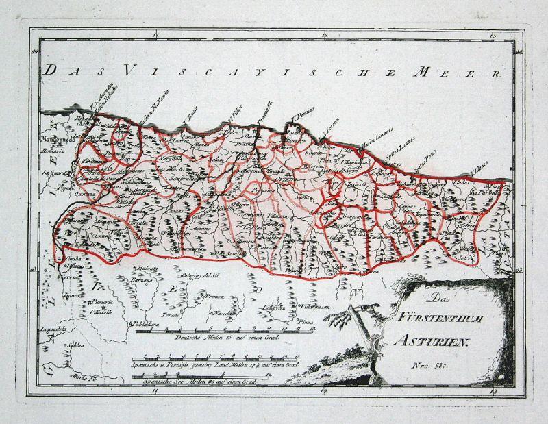 Spanien Spain Portugal Asturien Asturias Oviedo map Reilly engraving Kupferstich