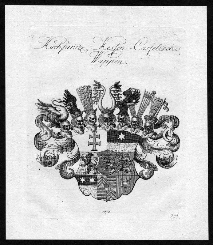 1790 - Hessen-Kassel Hessen-Cassel Wappen Adel coat of arms heraldry Heraldik