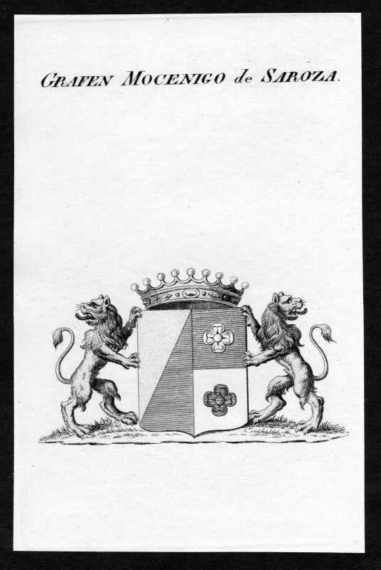 Ca. 1820 Mocenigo de Saroza Wappen Adel coat of arms Kupferstich antique print