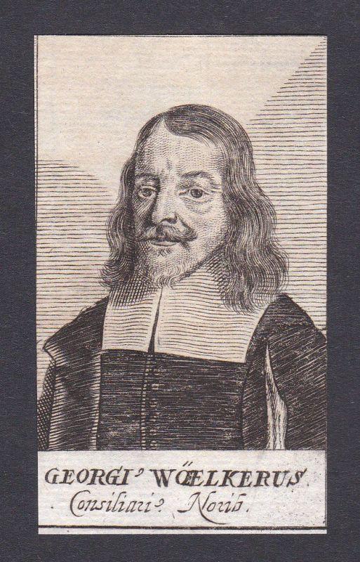 17. Jh. Georgius Woelker / lawyer Jurist Nürnberg Portrait Kupferstich