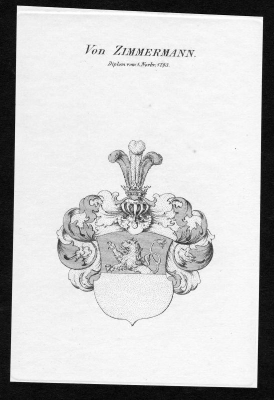 Ca. 1820 Zimmermann Wappen Adel coat of arms Kupferstich antique print heraldry 0
