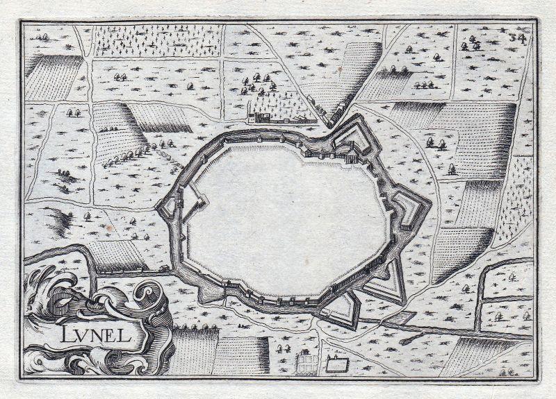 1630 Lunel Herault France gravure estampe Kupferstich Tassin