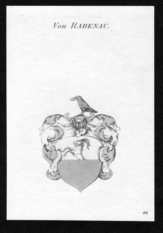 Ca. 1820 Rabenau Wappen Adel coat of arms Kupferstich antique print heraldry