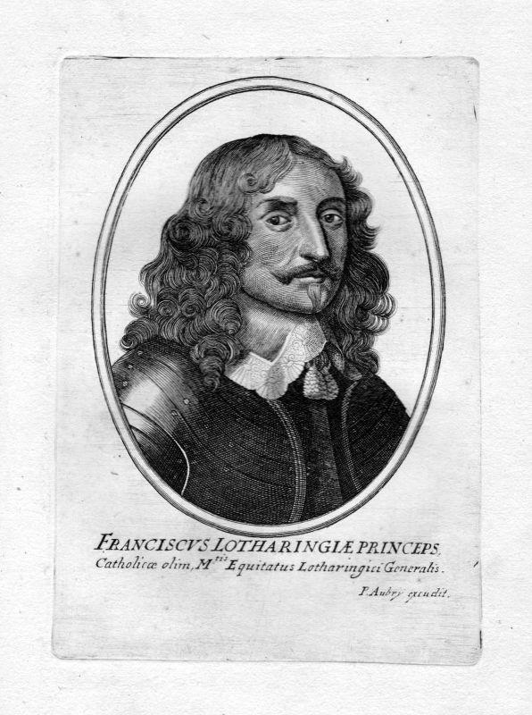 Ca. 1650 Franz I. Stephan Lothringen Portrait Kupferstich antique print Aubry 0