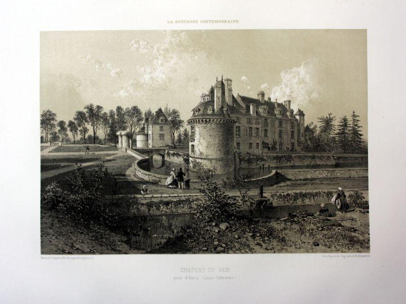 1870 Chateau du Plessis-de-Vair Bretagne France estampe Lithographie lithograph