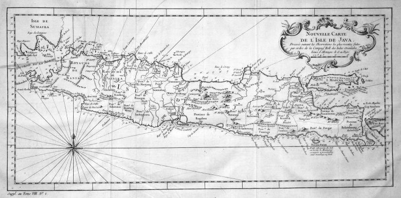 Java Jawa Indonesia Indonesien Karte map plan Kupferstich antique print Bellin 0