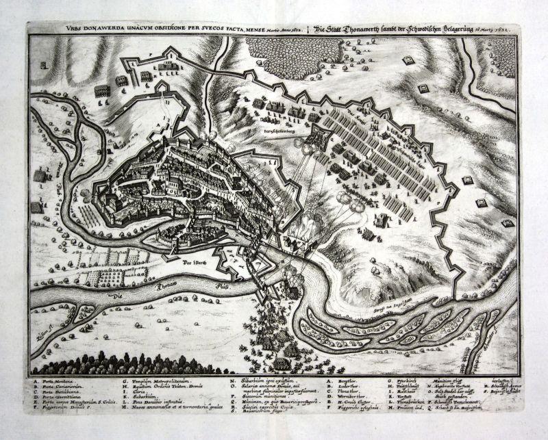 1679 Donauwörth Donau Belagerung Ansicht view Kupferstich antique print Merian