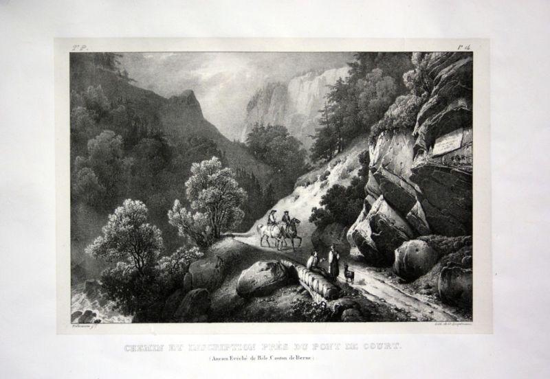 1824 Court Jura Kanton Bern - Schweiz Suisse Lithographie Villeneuve.