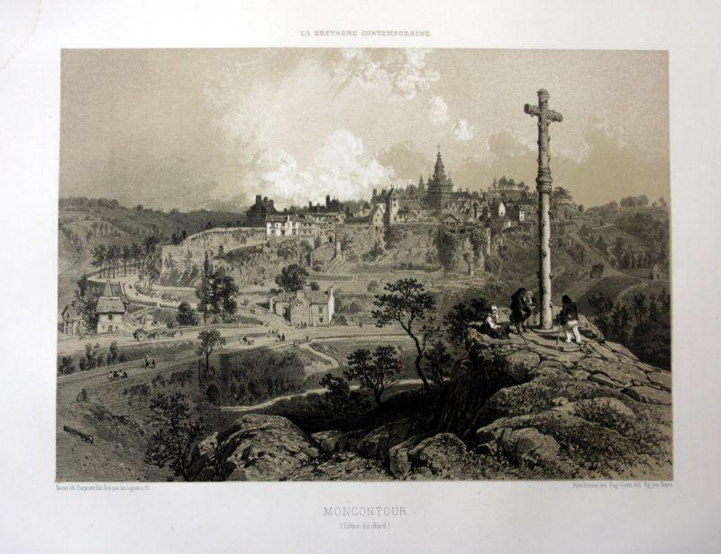 Ca. 1870 Moncontour Plaintel vue Bretagne France estampe Lithographie lithograph