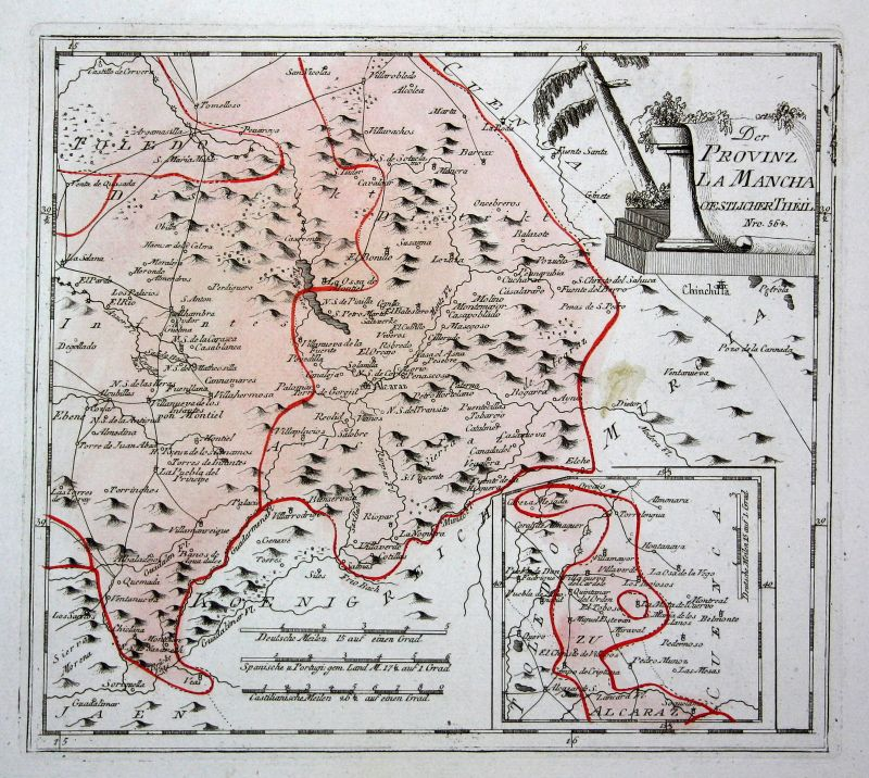 Spanien Spain Portugal La Mancha Kastilien map Reilly engraving Kupferstich 0