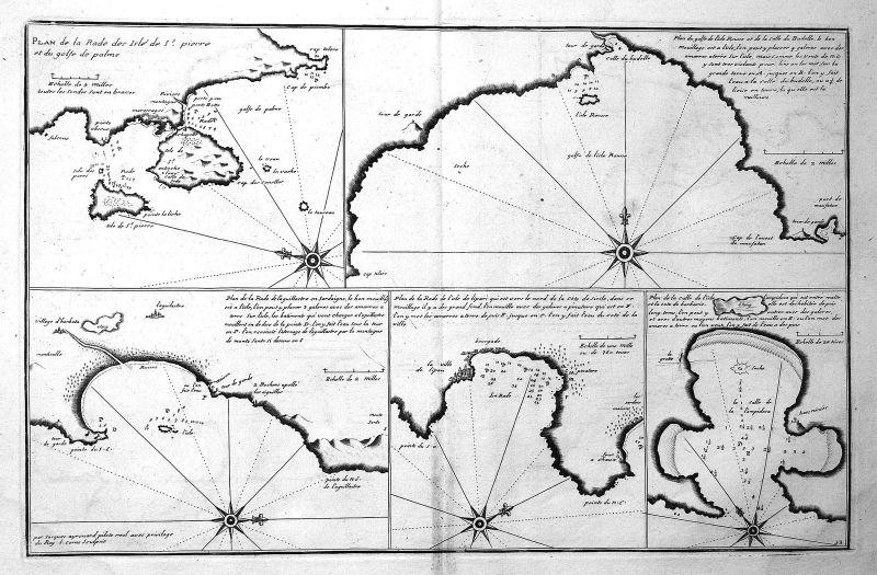 1732 San Pietro Lipari Lampedusa map Karte Kupferstich antique print Ayrouard