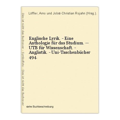 Englische Lyrik. - Eine Anthologie für das Studium. -- UTB für Wissenschaft. - A 0