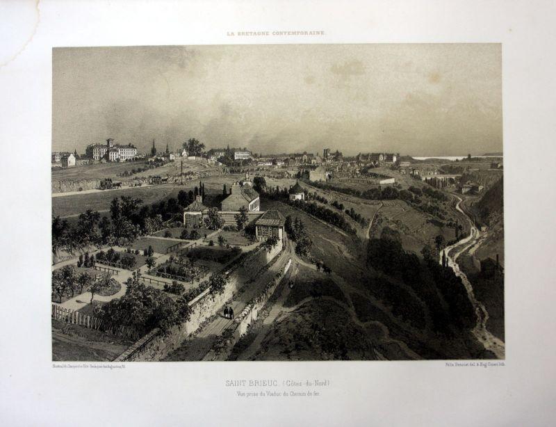 1870 Saint-Brieuc Cotes-d'Armor Bretagne France estampe Lithographie lithographc