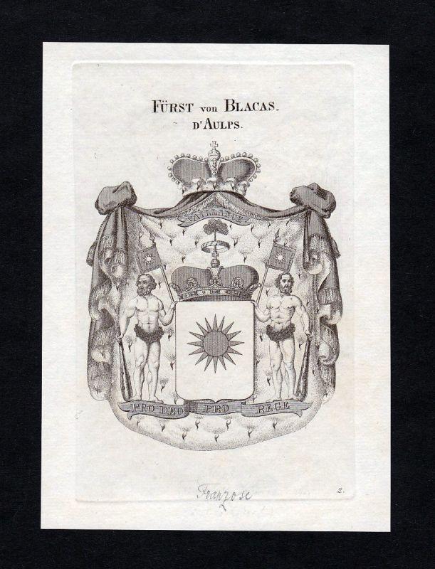 1820 Blacas Wappen Adel coat of arms heraldry Heraldik Kupferstich engraving 0