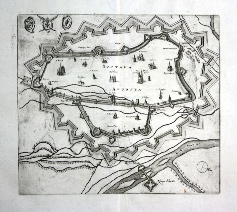 1679 Augsburg plan Ansicht view Kupferstich antique print Merian