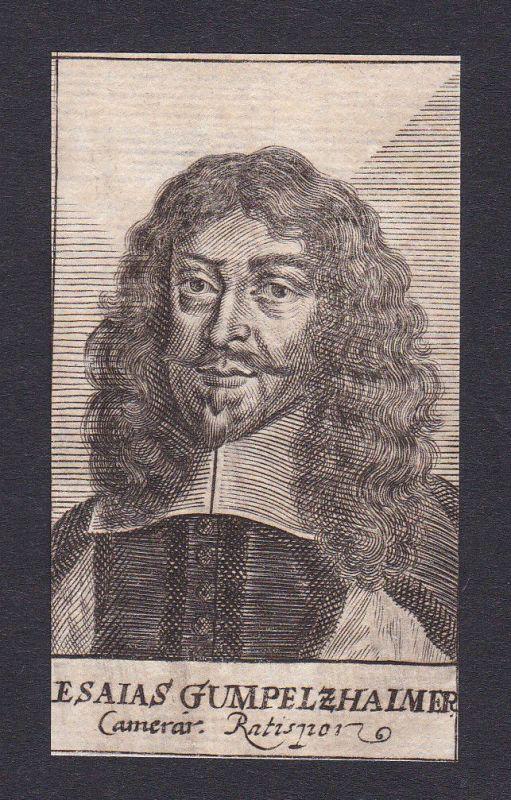 17. Jh. Esaias Gumpelzhaimer / lawyer Jurist Regensburg Portrait Kupferstich